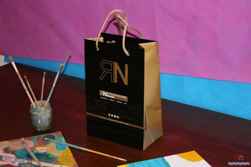 Bolsas publicidad de lujo negra oro